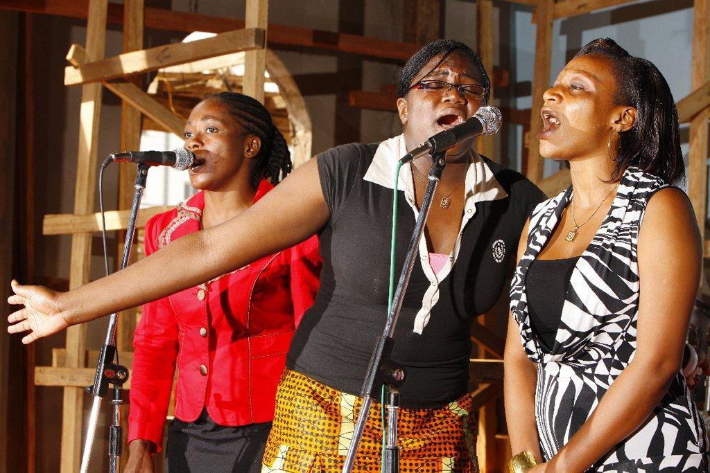 Young women singing